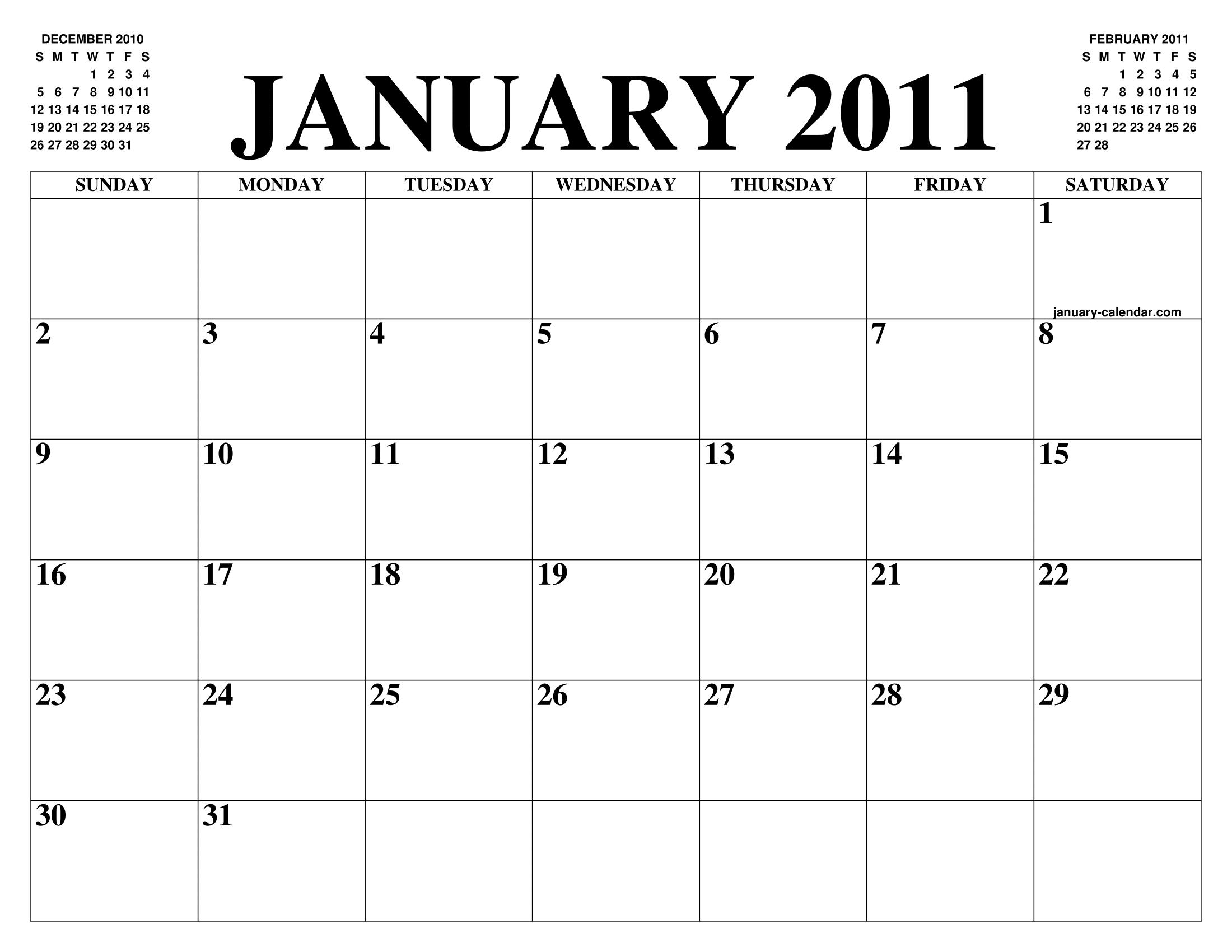 JANUARY 2011 CALENDAR OF THE MONTH: FREE PRINTABLE JANUARY ...