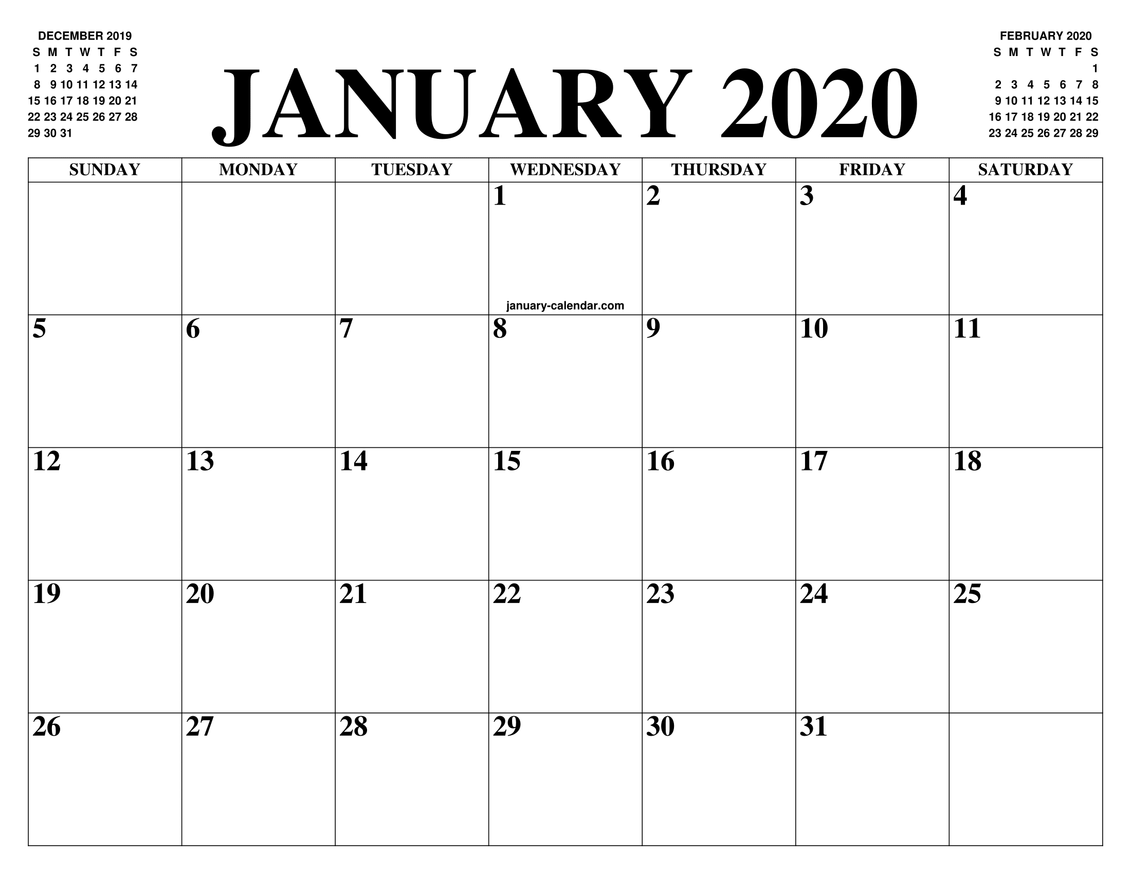 January 2020 Calendar Of The Month Free Printable January Calendar