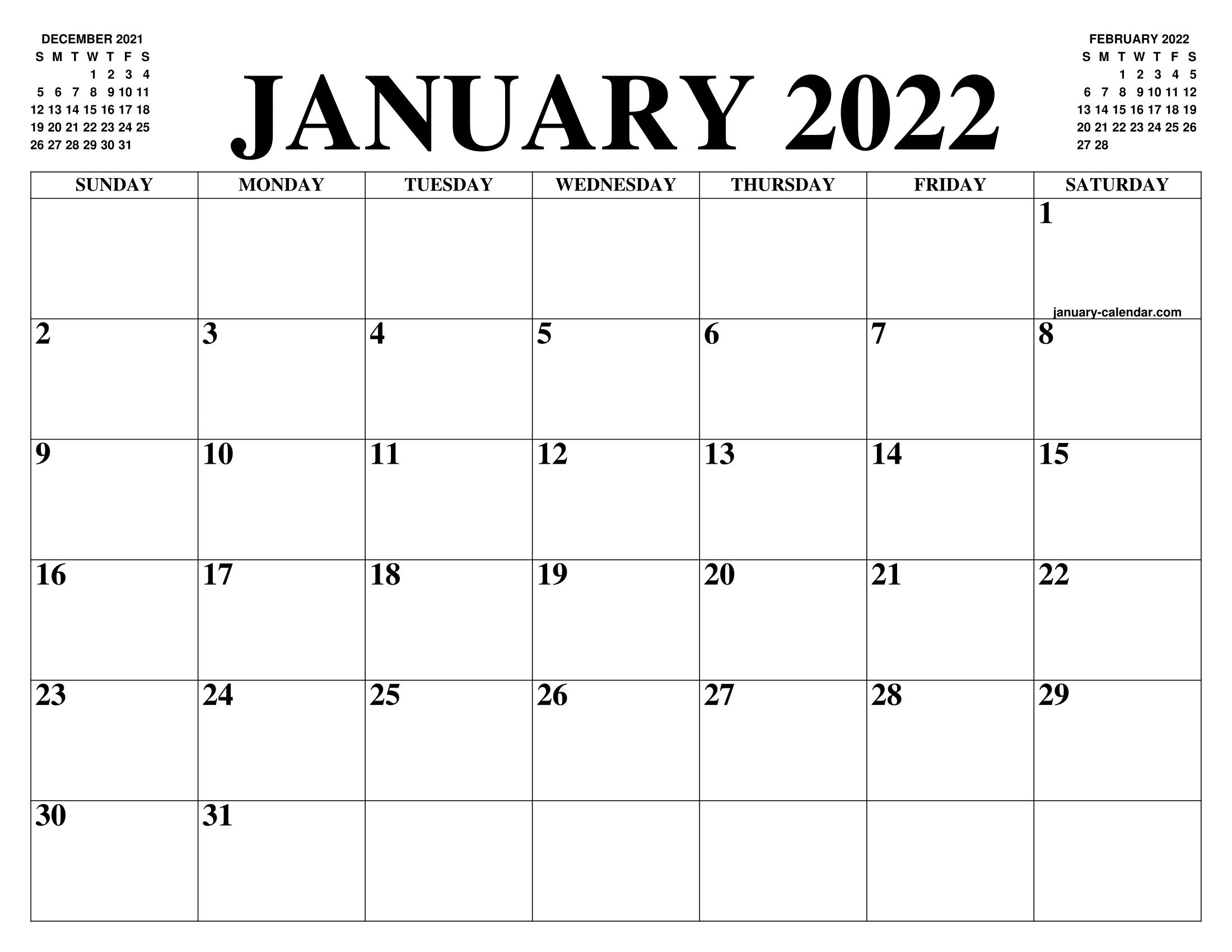 Calendar For Jan 2022.January 2022 Calendar Of The Month Free Printable January Calendar Of The Year Agenda
