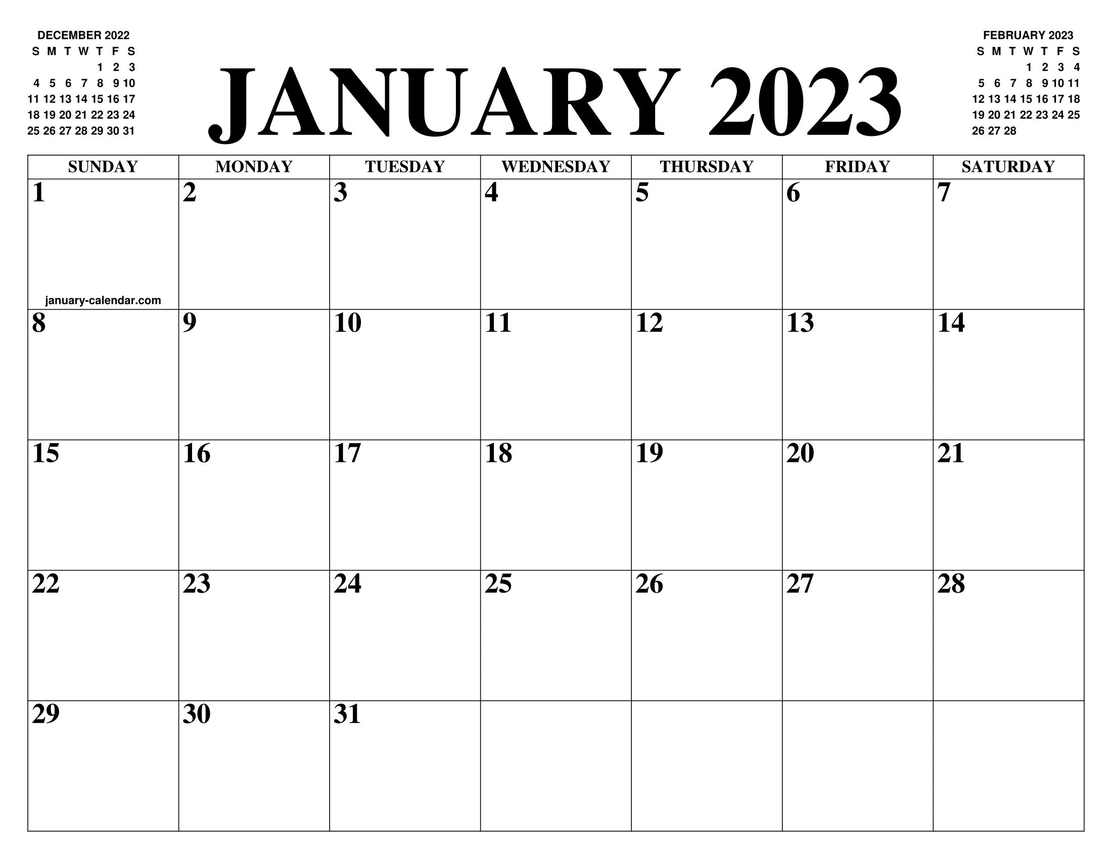 December 2023 And January 2022 Calendar.January 2023 Calendar Of The Month Free Printable January Calendar Of The Year Agenda